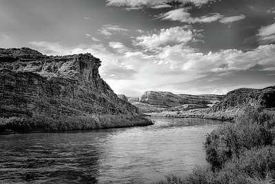 Photograph - Along A River In Utah - Black And White by Gregory Ballos