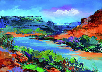 Landmarks Painting Royalty Free Images - Along Colorado River - Utah Royalty-Free Image by Elise Palmigiani