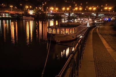 Photograph - Along Quay Of River Vltava. Night Prague by Jenny Rainbow