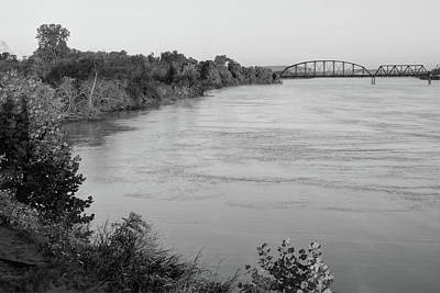 Photograph - Along The Arkansas River - Fort Smith - Black And White by Gregory Ballos