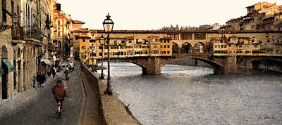 Along The Arno Art Print by Joe Bonita