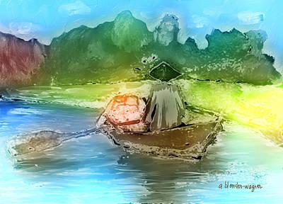 Rowboat Digital Art - Along The Banks Of Hanoi by Arline Wagner