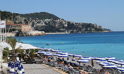 Along The Beach In Nice Looking Over Toward Monaco Art Print by Rod Jellison