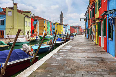 Photograph - Along The Canal In Burano Island by Evgeni Dinev