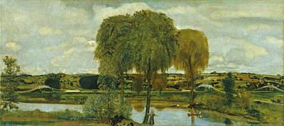 Arthur Bowen Davies Painting - Along The Erie Canal by Arthur Bowen Davies