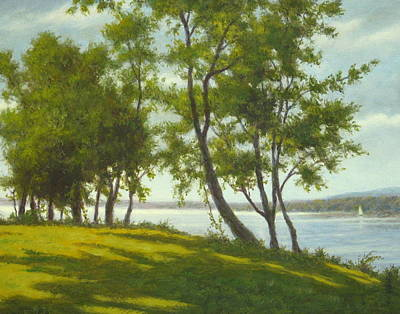 Oil Painting - Along The Hudson by Barry DeBaun