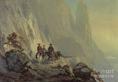 Mountainous Painting - Along The Mountain Edge by Otto Sommer