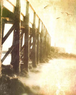 Along The Pier Art Print by Hal Halli