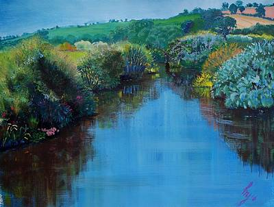 Painting - Along The River Exe - Near Exeter Devon by Mike Jory