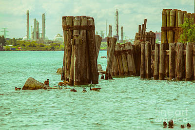 Wood Pylons Photograph - Along The River  by Kristin Hunt