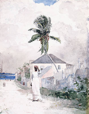 Black Stand Painting - Along The Road   Bahamas 1885 by Winslow Homer