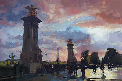 Wall Art - Painting - Along The Seine Pont Alexandre IIi by Patrick Saunders