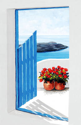 Gate Painting - Santorini, Along The Way - - Prints Of Original Oil Painting by Mary Grden Fine Art Oil Painter Baywood Gallery