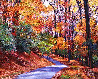 Roads Painting - Along The Winding Road by David Lloyd Glover