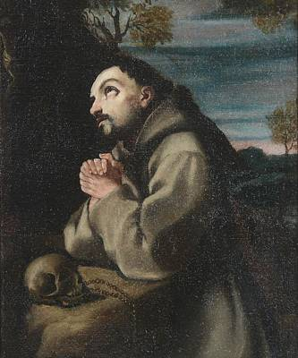 Alonso Cano Saint Francis In The Wilderness Praying To A Crucifix Art Print