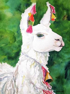Llama Wall Art - Painting - Alpaca With Attitude by Carlin Blahnik CarlinArtWatercolor