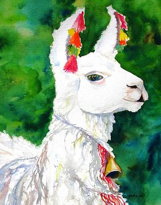 Watercolor Pet Portraits Painting - Alpaca With Attitude by Carlin Blahnik CarlinArtWatercolor