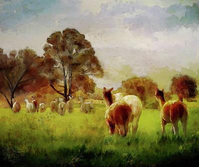 Four-legged Friends Digital Art - Alpacas In The Oats by Rosemary Smith