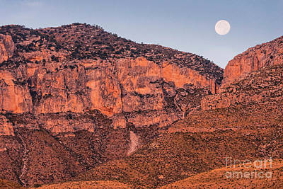 Photograph - Alpenglow And Full Moon Over Guadalupe Mountains National Park - Culberson County West Texas by Silvio Ligutti