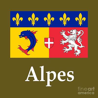 Province Mixed Media - Alpes, France Flag And Name by Frederick Holiday