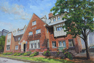 Champagne Painting - Alpha Epsilon Phi Sorority House University Of Illinois by Steve Haigh
