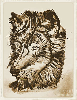 Yellowstone Mixed Media - Alpha Male - The Wolf - Antiqued by Scott D Van Osdol