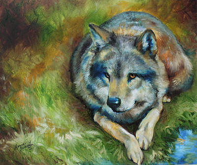 Wolf Eyes Painting - Alpha Wolf by Marcia Baldwin