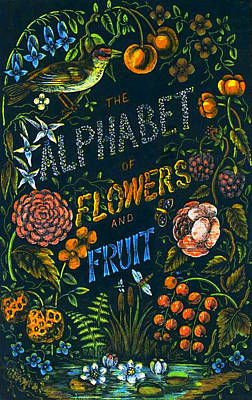 Alphabet Of Flowers Print by Antique Art