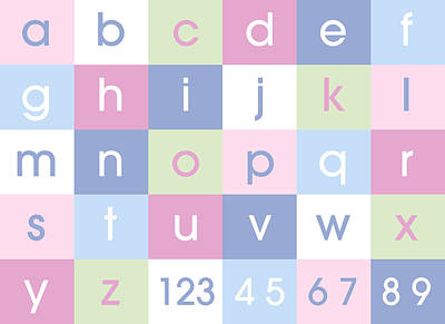 Alphabet Pastel Art Print by Michael Tompsett