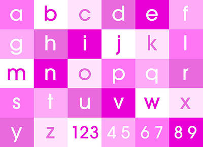 Alphabet Digital Art - Alphabet Pink by Michael Tompsett