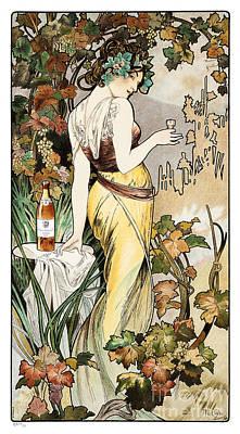 Cognac Art Painting - Alphonse Mucha - Cognac Bisquit by Pablo Romero
