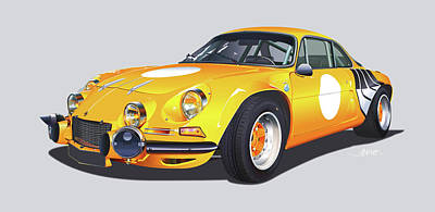 Digital Art - Alpine A110 In Yellow  by Alain Jamar