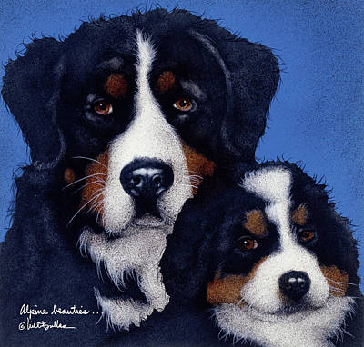 Bernese Mountain Dog Painting - Alpine Beauties... by Will Bullas