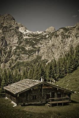 Alpine Cabin Art Print by Frank Tschakert