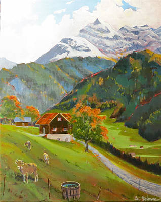 Painting - Alpine Farm Near Buerglen In Canton Uri by David Gilmore