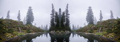 Surrealism Digital Art Rights Managed Images - Alpine Lake Reflection Royalty-Free Image by Pelo Blanco Photo