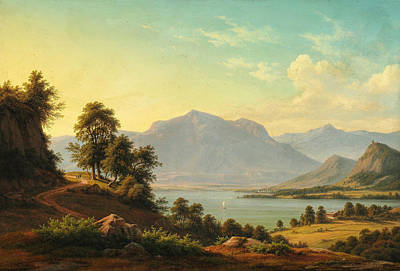 Painting - Alpine Landscape With A River And Tall Mountains by Christian Kiaerskou