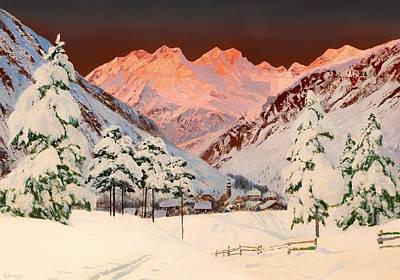 Mountain Valley Painting - Alpine Mountain Scene by Mountain Dreams