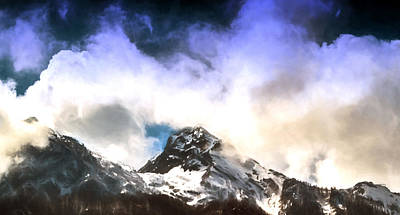Photograph - Alpine Mountains And Clouds Watercolour by John Williams