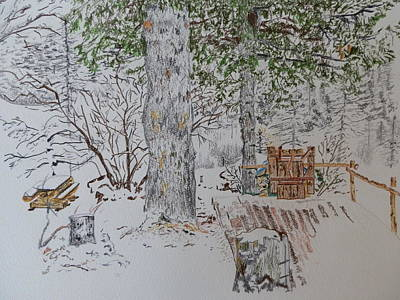 Snow Drawing - Alpine Snow Scene by Margaret Brooks