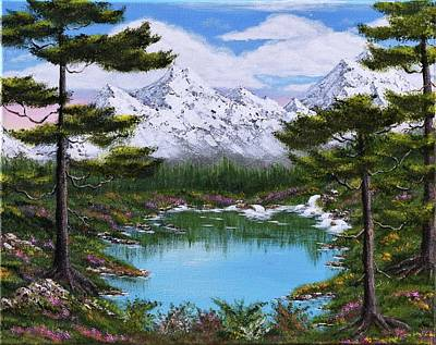 Bob Ross Style Painting - Alpine Spring Galore by Larysa Kalynovska