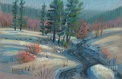 Drawing - Alpine Stream by Donald Maier