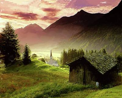 Painting - Alpine Village by Troy Caperton