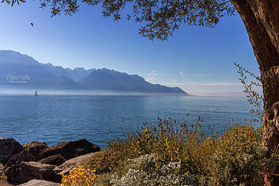 Photograph - Alps Mountains Upon Geneva Lake, Montreux, Switzerland by Elenarts - Elena Duvernay photo