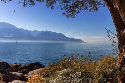 Photograph - Alps Mountains Upon Geneva Lake, Montreux, Switzerland by Elenarts - Elena Duvernay photo
