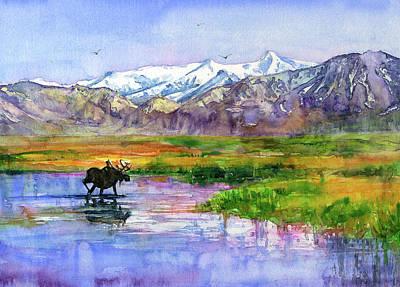 Painting - Alaskan Landscape Stream by John D Benson