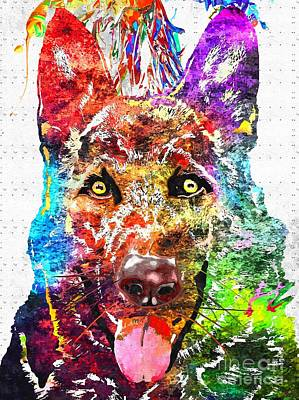 Abstract Of Dogs Mixed Media - Alsatian Grunge  by Daniel Janda