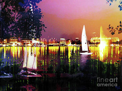 Interior Scene Mixed Media - Alster In The Evening by Nica Art Studio