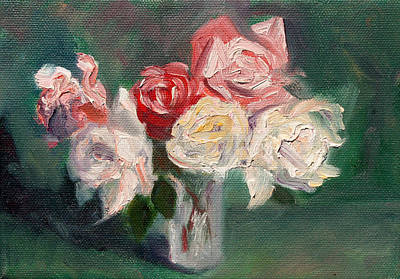 Floral Still Life Painting - Altadena Roses by Athena  Mantle