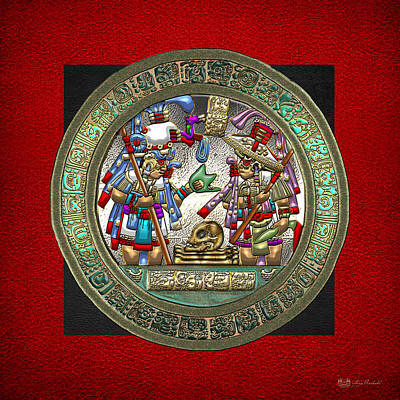 Digital Art - Altar 5 From Tikal - Mayan Nobles Performing A Ritual - On Black And Red Leather  by Serge Averbukh